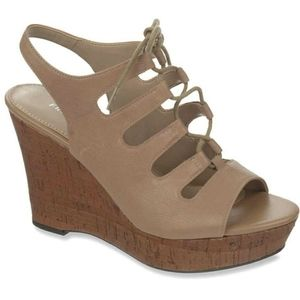 Franco Sarto Sunitha Tan Lace Up Slingback Wedges